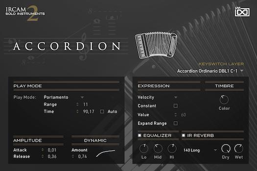 UVI IRCAM Solo Instruments 2 | Accordion GUI