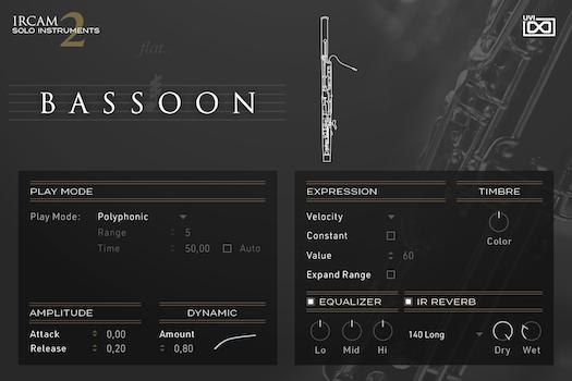 UVI IRCAM Solo Instruments 2 | Bassoon GUI