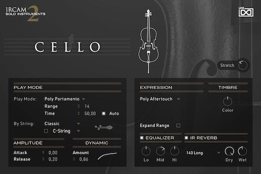 UVI IRCAM Solo Instruments 2 | Cello GUI