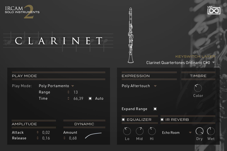UVI IRCAM Solo Instruments 2 | Clarinet GUI