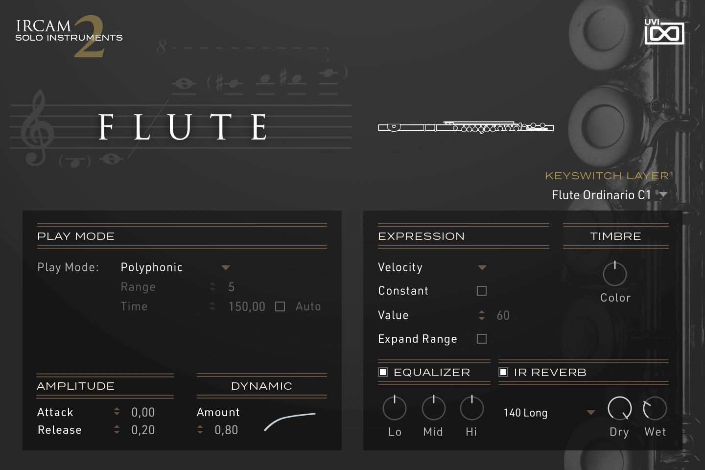 UVI IRCAM Solo Instruments 2 | Flute GUI
