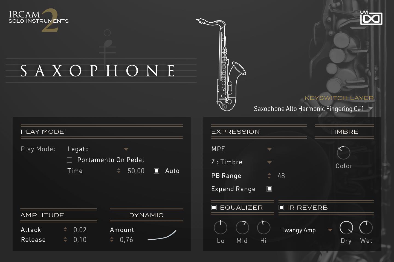 UVI IRCAM Solo Instruments 2 | Saxophone GUI