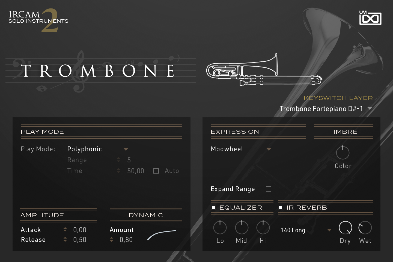 UVI IRCAM Solo Instruments 2 | Trombone GUI