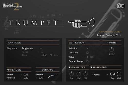 UVI IRCAM Solo Instruments 2 | Trumpet GUI