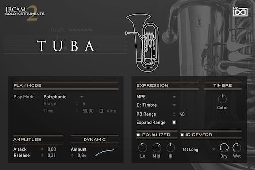 UVI IRCAM Solo Instruments 2 | Tuba GUI