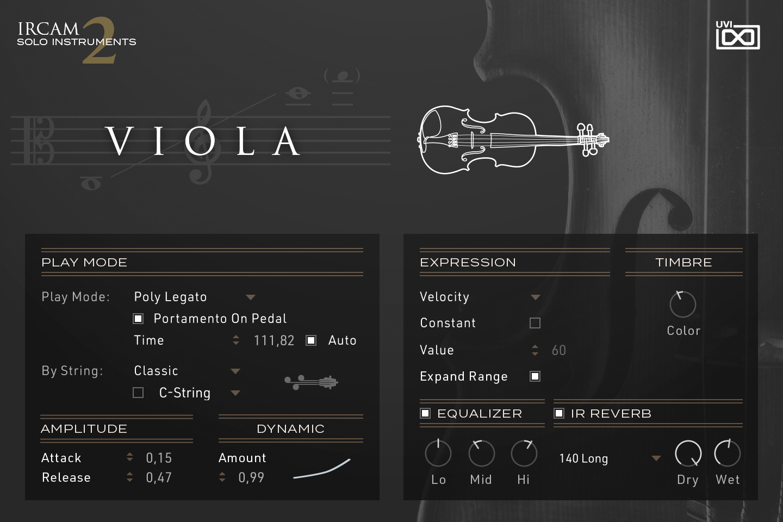 UVI IRCAM Solo Instruments 2 | Viola GUI