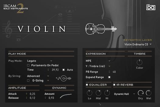 UVI IRCAM Solo Instruments 2 | Violin GUI