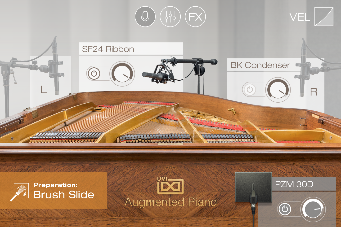 UVI Augmented Piano | Preparations GUI - Brush Slide