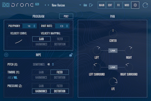 UVI Drone | Settings GUI