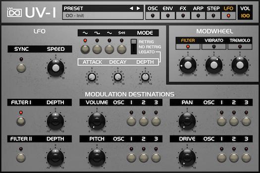 OB Legacy | UV-1 LFO GUI