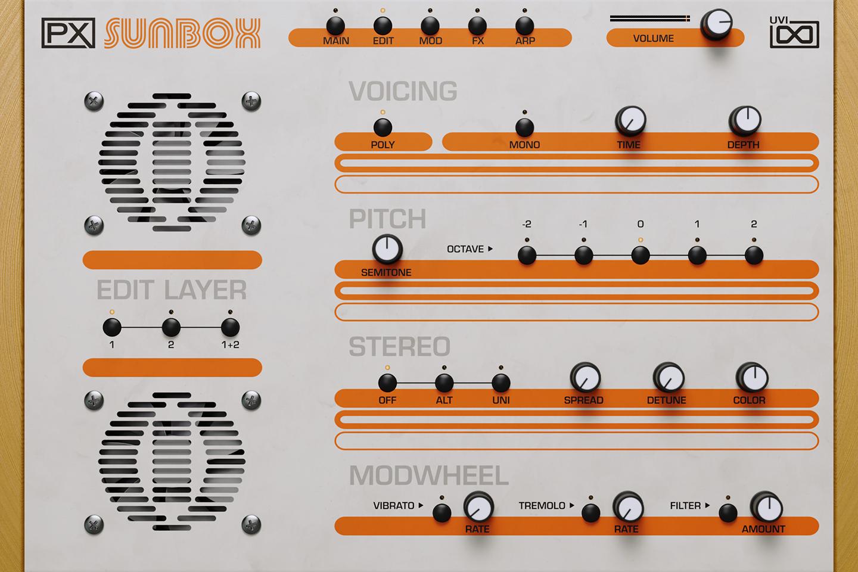 UVI PX SunBox | Edit GUI