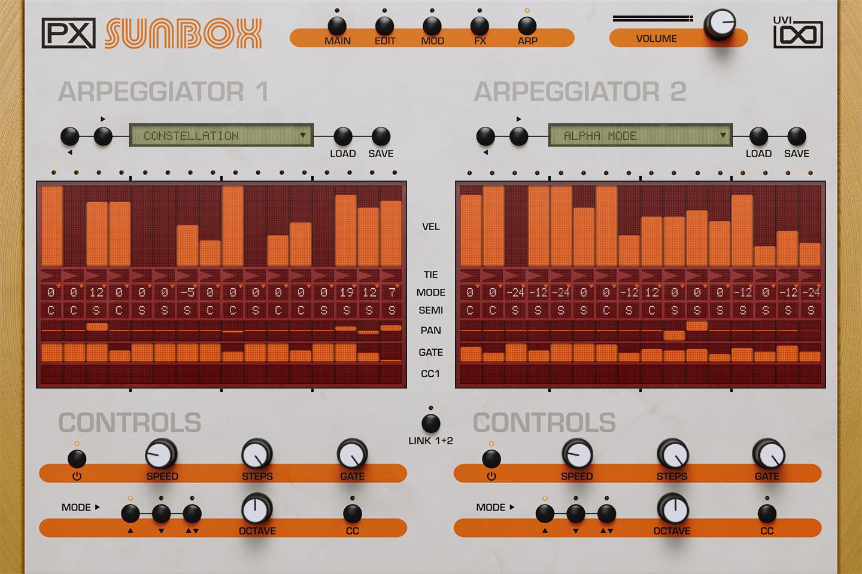 UVI PX SunBox | Arpeggiator GUI