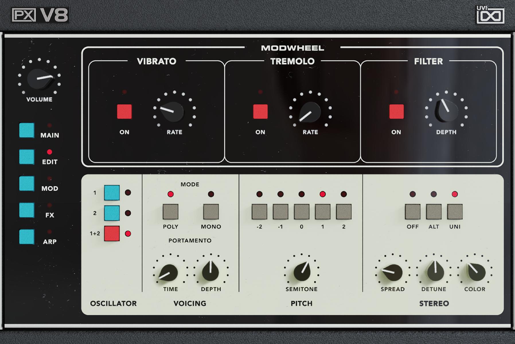 UVI PX V8 | GUI Edit