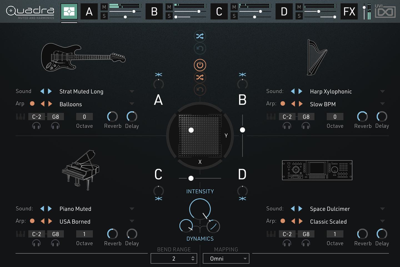 Quadra: Muted & Harmonics |Main GUI