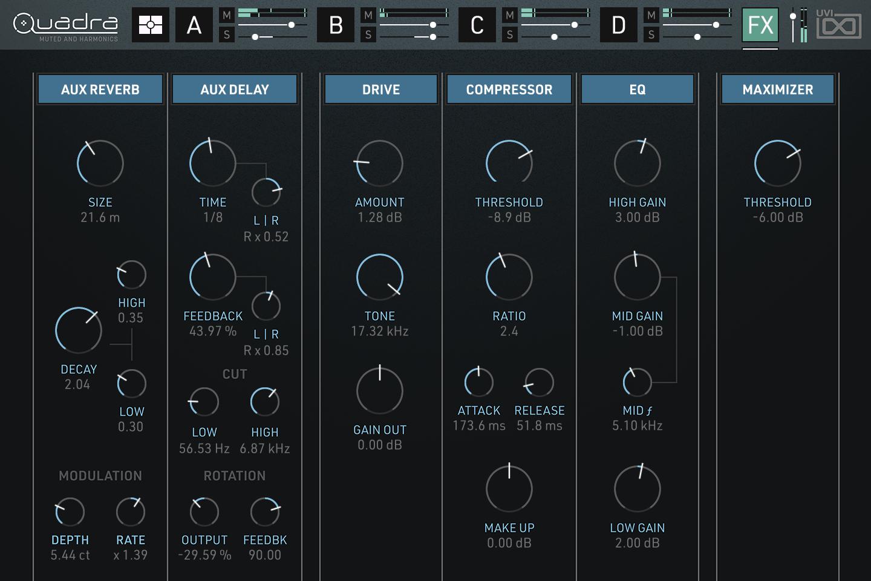 Quadra: Muted & Harmonics | Effects GUI