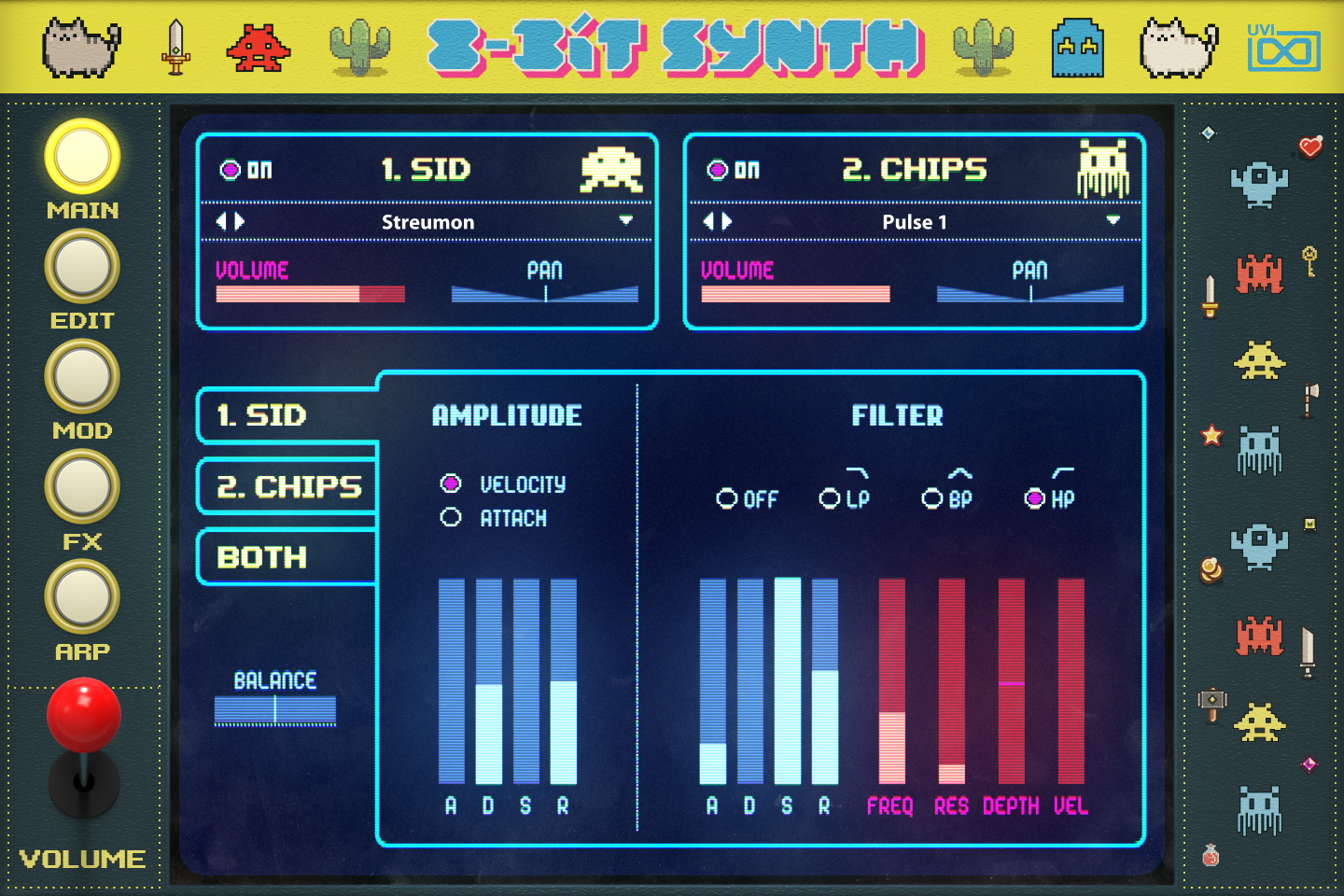 UVI Toy Suite GUI | 8-Bit Synth Main