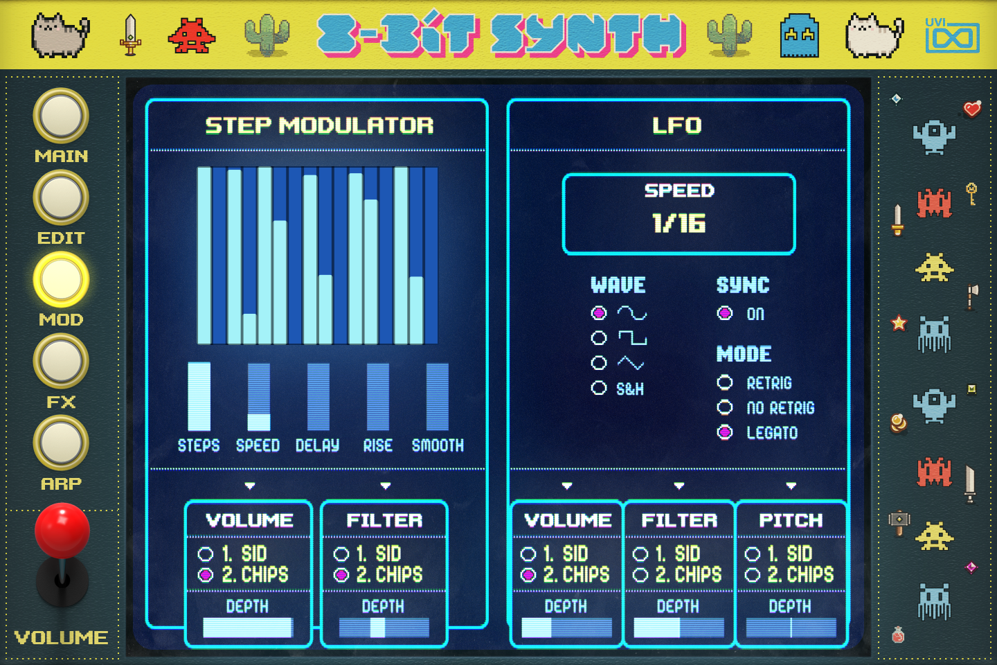UVI Toy Suite GUI | 8-Bit Synth Mod