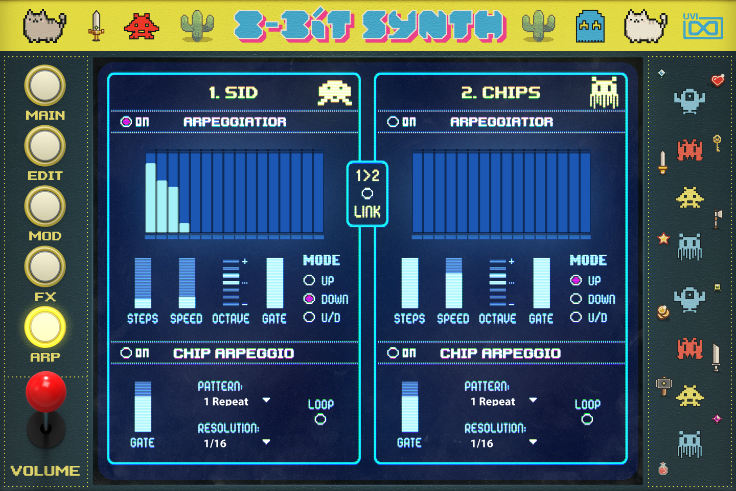 UVI Toy Suite GUI | 8-Bit Synth ARP