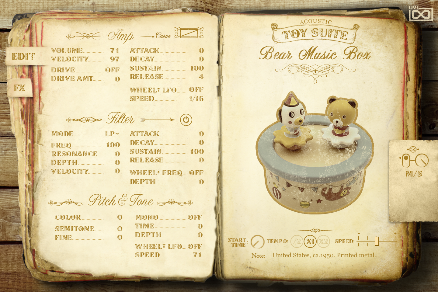 UVI Toy Suite GUI | Bear Music Box