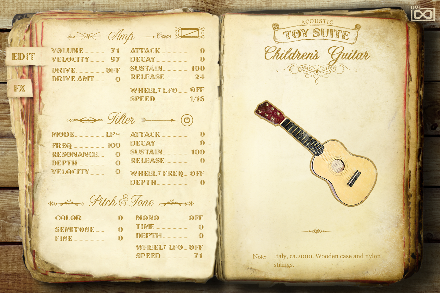UVI Toy Suite GUI | Children Guitar